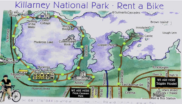 Cycling map of Killarney